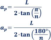 Calculadora de la apotema, sagita, circunradio, perímetro y área de un polígono regular de n lados de longitud L. También, definimos y calculamos la fórmula de la apotema y la sagita de forma intuitiva. Geometría plana. Matemáticas.