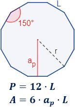 Calcular el área y el perímetro de un dodecágono regular. Definición de dodecágono regular y demostración de las fórmulas del área y del perímetro del mismo, escritas en función del lado, de la apotema y del radio del circuncírculo. Matemáticas. Geometría plana. Secundaria. Bachillerato. Calculadora online.