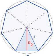 Calcular el área y el perímetro de un heptágono regular. Definición de heptágono regular y demostración de las fórmulas del área y del perímetro del mismo, escritas en función del lado, de la apotema y del radio del circuncírculo. Matemáticas. Geometría plana. Secundaria. Bachillerato. Calculadora online.