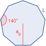 Calcular el área y el perímetro de un eneágono regular (o nonágono regular). Definición de eneágono regular y demostración de las fórmulas del área y del perímetro del mismo, escritas en función del lado, de la apotema y del radio del circuncírculo. Matemáticas. Geometría plana. Secundaria. Bachillerato. Calculadora online.