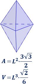 Calculadora del área y volumen del sólido de Johnson J₁₂ (bipirámide triangular con caras regulares e iguales). También, definimos el sólido J₁₂, calculamos su altura y demostramos las fórmulas del área y del volumen. Calculadora online. Matemáticas. Geometría.