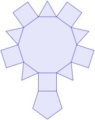 Calculadora del área y volumen del sólido de Johnson J₅ (o cúpula pentagonal). También, definimos el sólido J₅, calculamos su altura y demostramos las fórmulas del área y del volumen. Calculadora online. Matemáticas. Geometría.