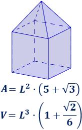 Calculadora del área y volumen del sólido de Johnson J₈ (pirámide cuadrada elongada o cubo aumentado). También, definimos el sólido J₈, calculamos su altura y demostramos las fórmulas del área y del volumen. Calculadora online. Matemáticas. Geometría.