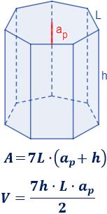 Calculadora Del área Y Volumen Del Prisma Heptagonal