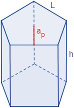 Calculadoras en línea del área y el volumen de un prisma pentagonal regular (recto y con bases regulares) a partir de su lado y altura o de su altura y apotema. Demostración de las fórmulas del área y del volumen. Matemáticas. Geometría. Sólidos geométricos.