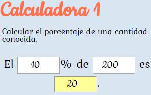 Distintas calculadoras online para calcular porcentajes.